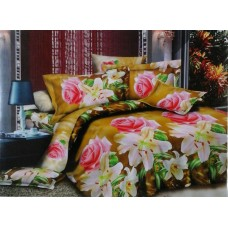 Valtellina Pollycotton Golden Pink Rose Design Double Bedsheet