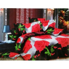 Valtellina Pollycotton Black Red Rose Design Double Bedsheet