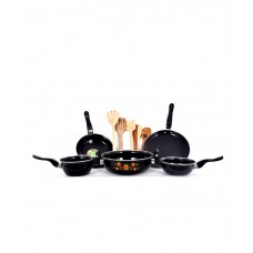 5 Pcs Induction Safe Cookware & 5 Pcs Skimmer Set-Black