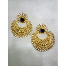 Gold Plated Blue Stone Earrings