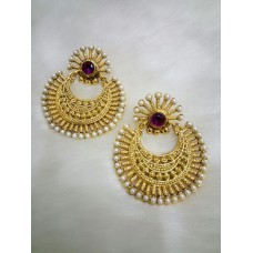 Gold Plated Purple Stone  Earrings