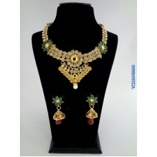 Gold Platted alloy necklace with red green earring