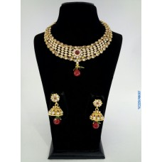 Alankruthi Antique Red Stone Traditional Necklace