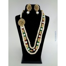Zaveri Pearls Three String Necklace Jewel Set