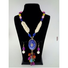 Classique Designer Multicolour Pearls Alloy Jewel Set