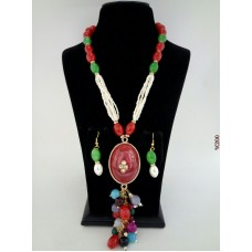 Classique Designer Red Green Alloy Jewel Set