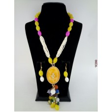 Classique Designer Yellow Pink Alloy Jewel Set