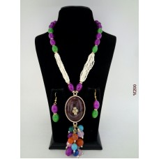 Classique Designer Green Purple Alloy Jewel Set