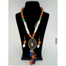 Classique Designer Orange Green Alloy Jewel Set