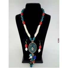 Classique Designer Blue Red Alloy Jewel Set
