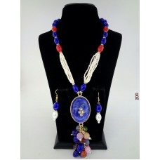 Classique Designer Red Blue Alloy Jewel Set