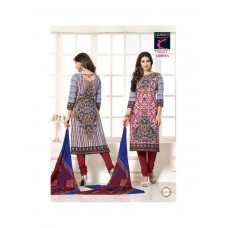 Aroma - Designer Cotton Straight Suit (Red-Blue)