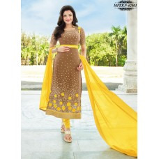 Eknoor - Designer  Suit  Set  With Pure Nazneem  And  Chiffon Dupatta (Brown-Yellow)