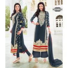 Eknoor - Designer  Suit  Set  With Pure Nazneem  And  Chiffon Dupatta (Gray)