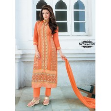 Eknoor - Designer  Suit  Set  With Pure Nazneem  And  Chiffon Dupatta (Orange)