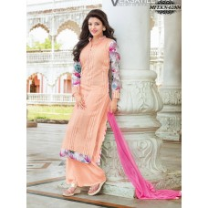 Eknoor - Designer  Suit  Set  With Pure Nazneem  And  Chiffon Dupatta (Peach)