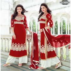 Eknoor - Designer  Suit  Set  With Pure Nazneem  And  Chiffon Dupatta (Red-White)