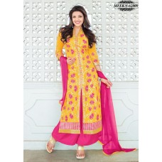 Eknoor - Designer  Suit  Set  With Pure Nazneem  And  Chiffon Dupatta (Pink-Yellow)