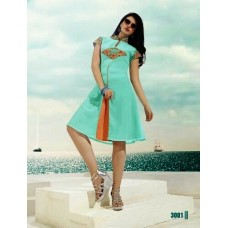Fiona  Party, Festive Self Design, Embroidered Solid Women's Kurti Turquoise