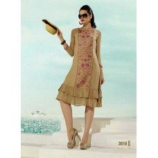 Fiona  Party, Festive Self Design, Embroidered Georgette Solid Women's Kurti  Beige