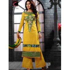 Glamour - cotton with embroidery Un-stitched Dress Material with Dupatta(Yellow-Green)