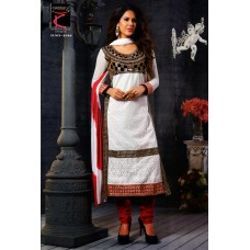 Glamour cotton with embroidery Un-stitched Dress Material with Dupatta(Red-White)