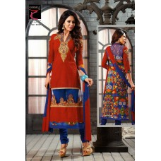 Glamour cotton with embroidery Un-stitched Dress Material with Dupatta(Blue-Red)