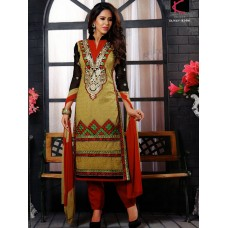 Glamour cotton with embroidery Un-stitched Dress Material with Dupatta(Yellow-Red)