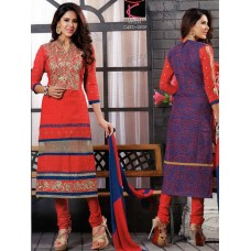 Glamour cotton with embroidery Un-stitched Dress Material with Dupatta(Red-Blue)