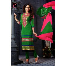 Glamour cotton with embroidery Un-stitched Dress Material with Dupatta(Pink-Green)