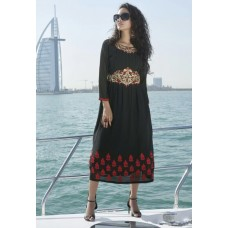 Party, Festive,Designer, Embroidered Georgette Solid Women's Kurti