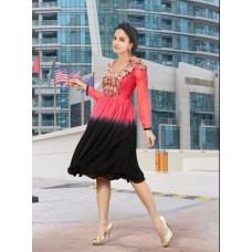 Party, Festive Self Design, Embroidered Georgette Solid Women's Kurti Pink-black