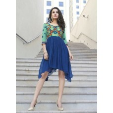 Party, Festive Self Design, Embroidered Georgette Solid Women's Kurti Blue