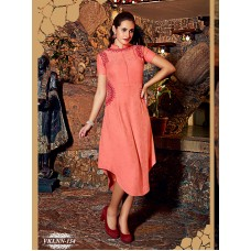 Fiona : Party, Festive Self Design, Embroidered Georgette Solid Women's Kurti Pink