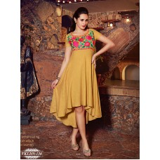 Fiona : Party, Festive Self Design, Embroidered Georgette Solid Women's Kurti :Yellow