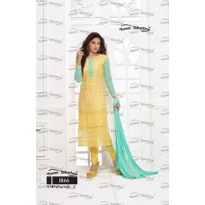 Designer Suit with Dupatta (Yellow- Aqua)
