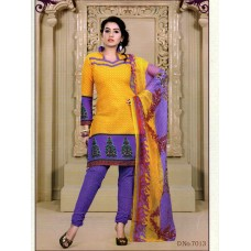 Mix Cotton Designer Salwar Suit Dupatta Material (Mix Color Yellow blue)