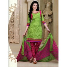 Mix Cotton Designer Salwar Suit Dupatta Material (Mix Color Green Red)